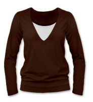 KARLA- breast-feeding T-shirt, long sleeves, CHOCOLATE BROWN