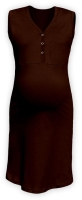 CECILIE- maternity and breastfeeding nightdress with snap-button neckline, CHOCOLATE BROWN