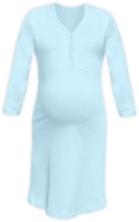 CECILIE- maternity and breastfeeding nightdress with snap-button neckline, LIGHT BLUE