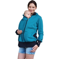 BEATA- organic cotton maternity and babywearing sweatshirt (front use only), PETROL BLUE-GREEN
