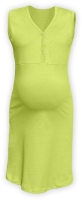 CECILIE- maternity and breastfeeding nightdress with snap-button neckline, LIGHT GREEN