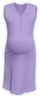 CECILIE- maternity and breastfeeding nightdress with snap-button neckline, LAVENDER