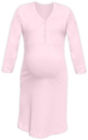 CECILIE- maternity and breastfeeding nightdress with snap-button neckline, LIGHT PINK