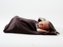 Swaddle blanket 85x110cm, chocolate brown/unbleached
