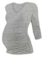 VANDA- maternity T-shirt, 3/4 sleeves, GREY MELANGE