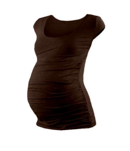 JOHANKA- T-shirt for pregnant women, mini sleeves, CHOCOLATE BROWN