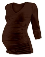 VANDA- maternity T-shirt, 3/4 sleeves, CHOCOLATE BROWN