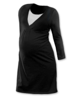 LUCIE- maternity and breast-feeding nightdress, BLACK