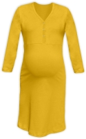CECILIE- maternity and breastfeeding nightdress with snap-button neckline, YELLOW-ORANGE