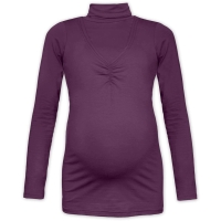 KLAUDIE- breast-feeding roll-colar T-shirt, PLUM VIOLET