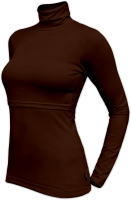 KATERINA- breast-feeding roll-colar T-shirt, CHOCOLATE BROWN