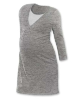 LUCIE- maternity and breast-feeding nightdress, GREY MELANGE