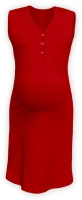 CECILIE- maternity and breastfeeding nightdress with snap-button neckline, RED