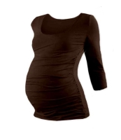 JOHANKA- maternity T-shirt, 3/4 sleeve, CHOCOLATE BROWN L/XL