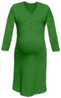 CECILIE- maternity and breastfeeding nightdress with snap-button neckline, DARK GREEN